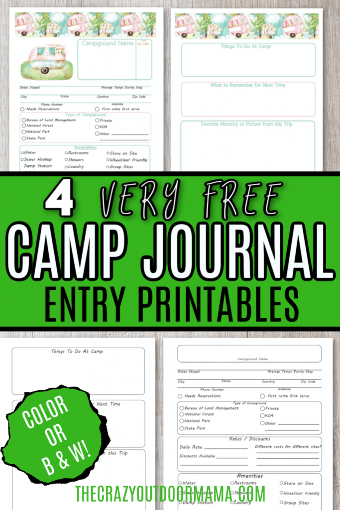 FREE CAMPING PRINTABLE JOURNAL ENTREIS