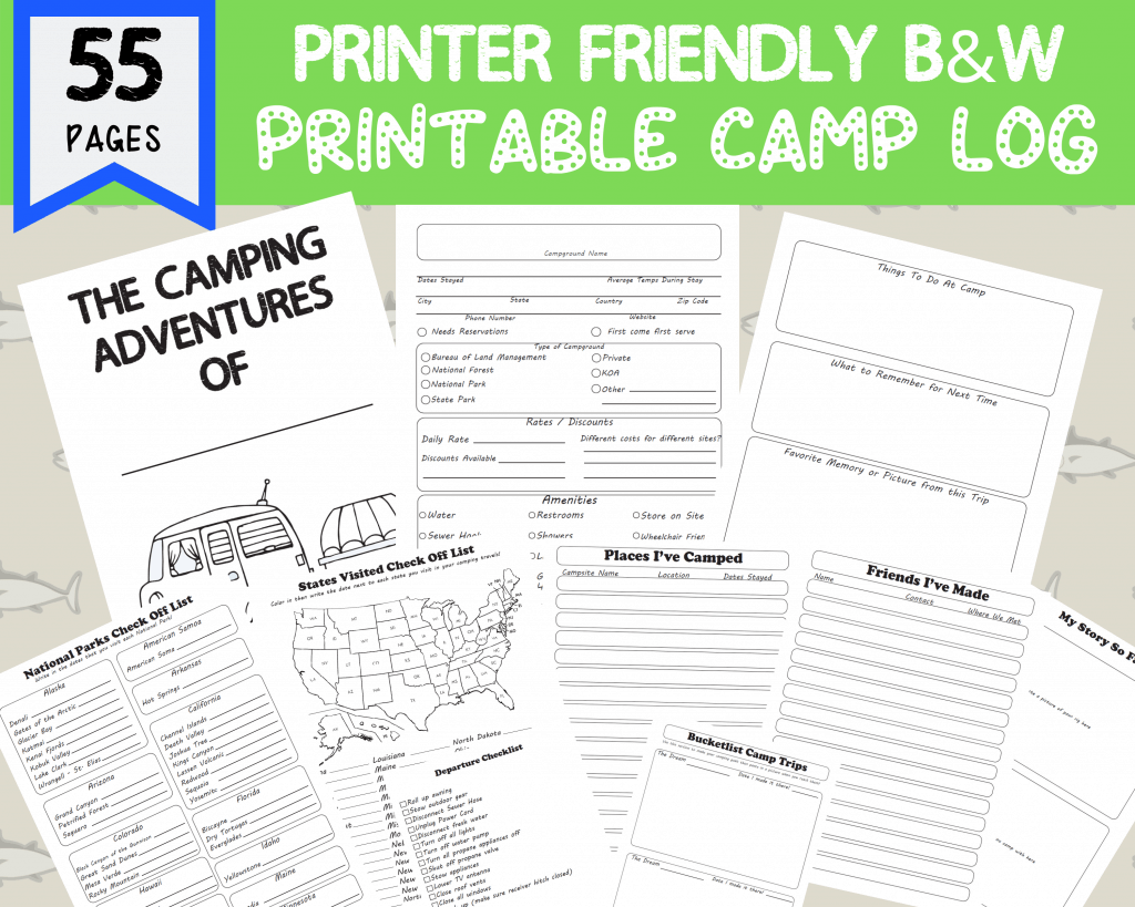 camping journal printable template