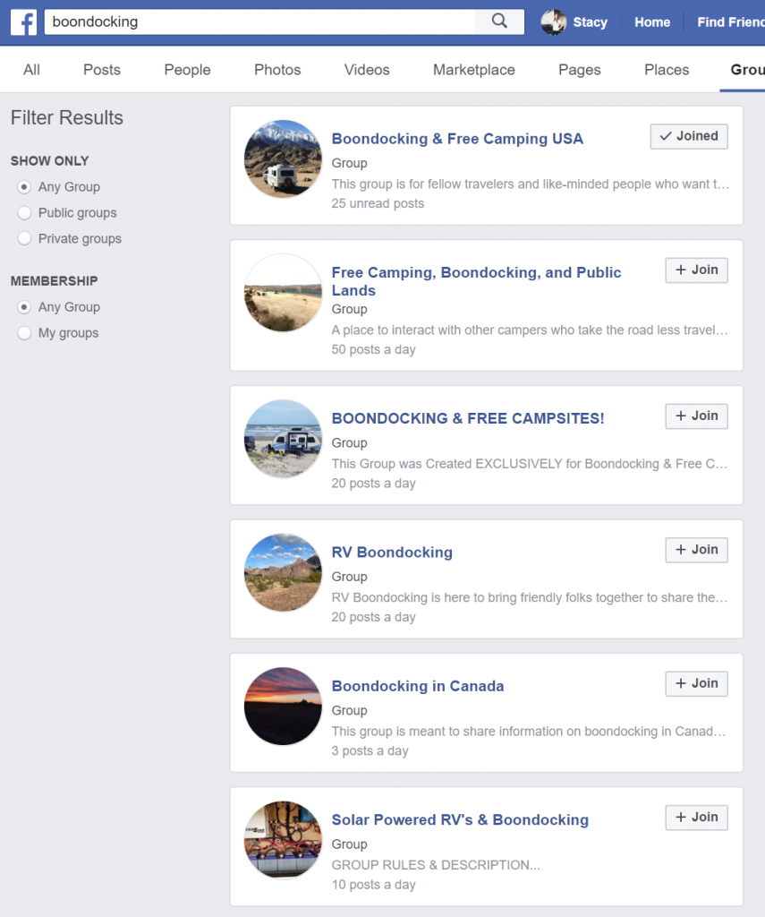 boondocking support groups