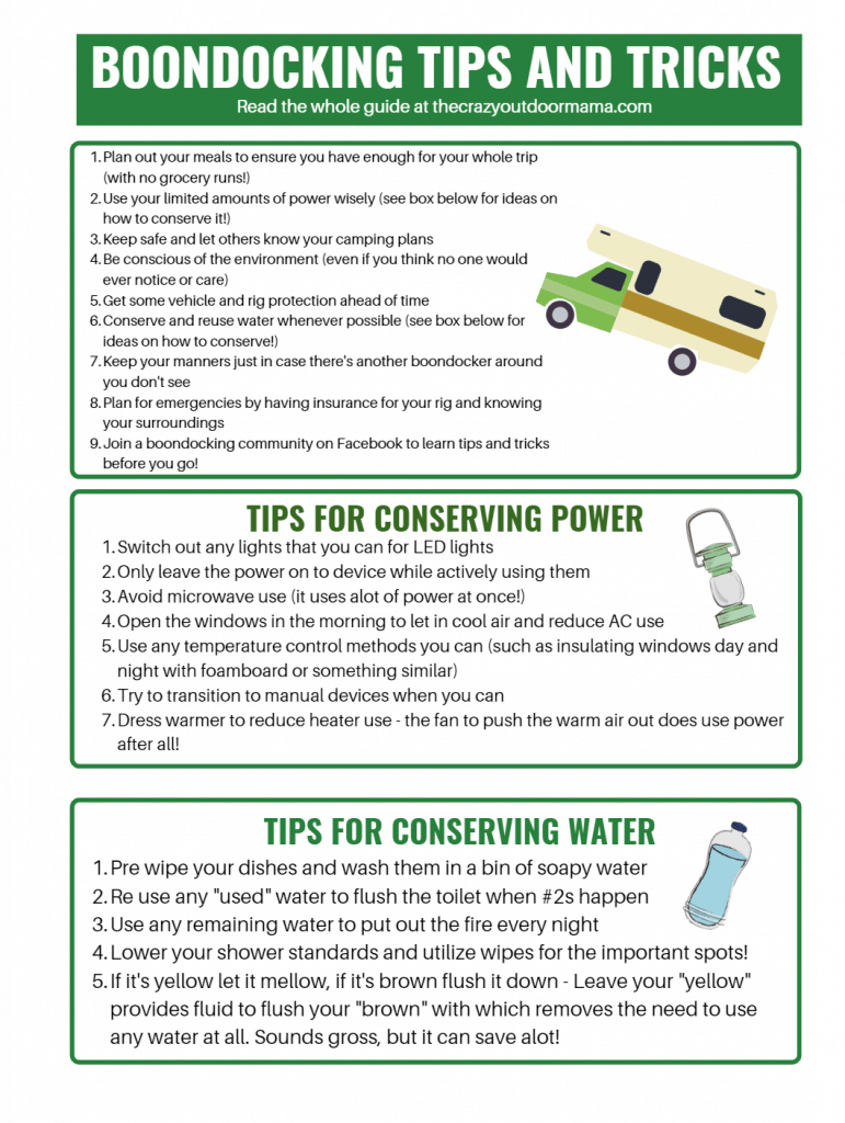boondocking tips and tricks to conserve water and power use
