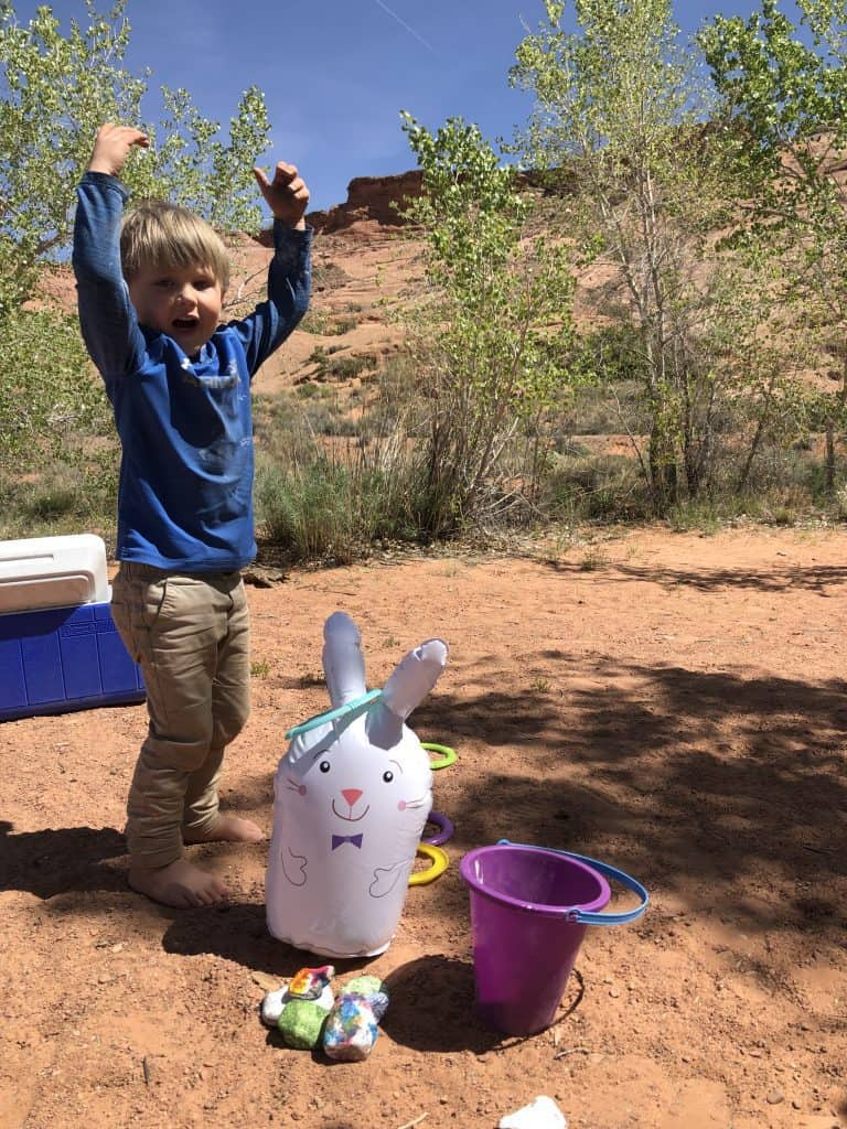 easter camping outdoors with kids