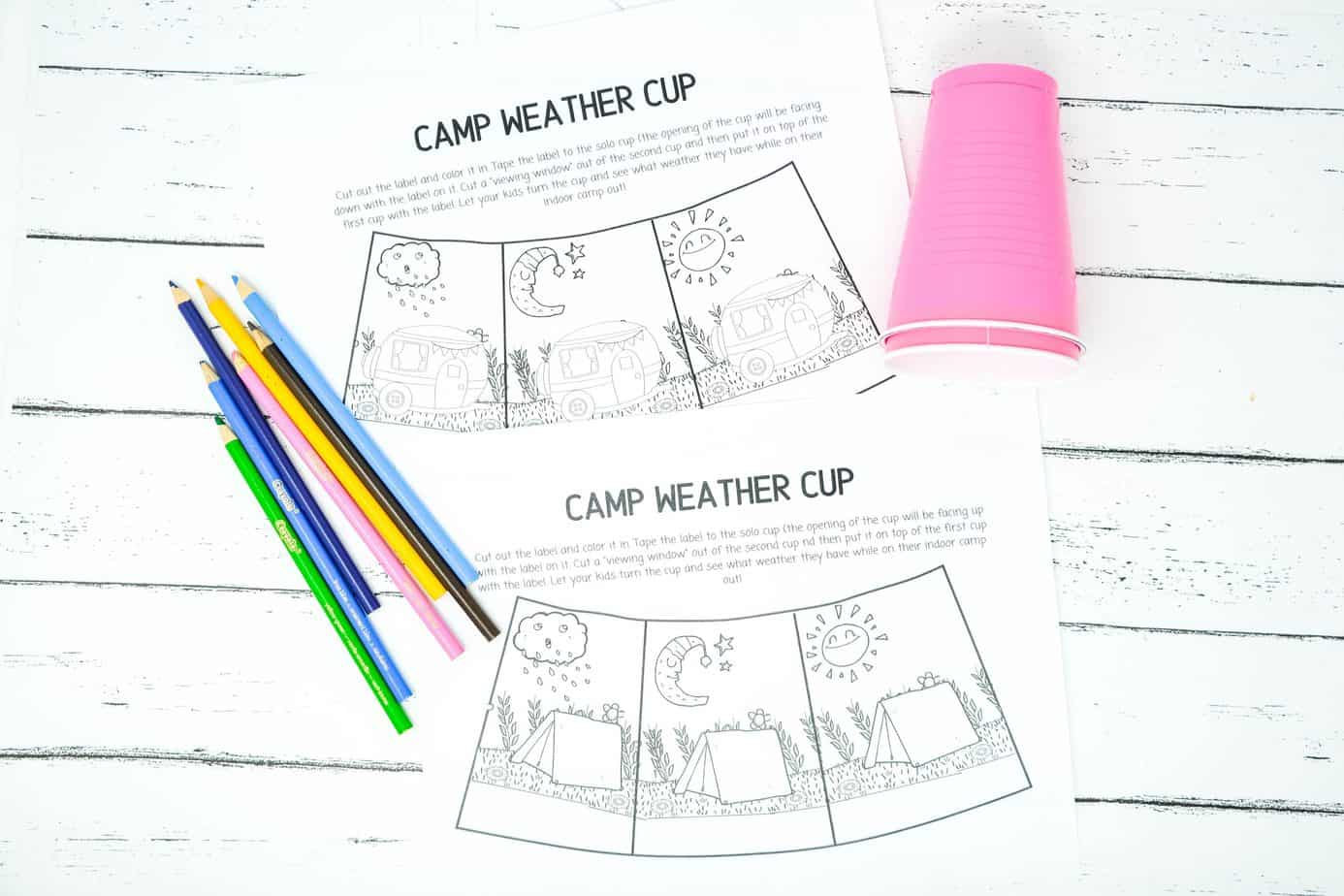 camping craft with cups