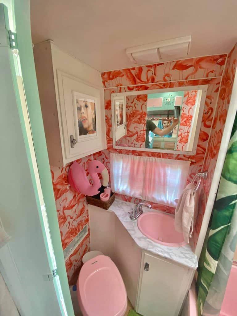 flamingo camper bathroom for 50s renovation idea