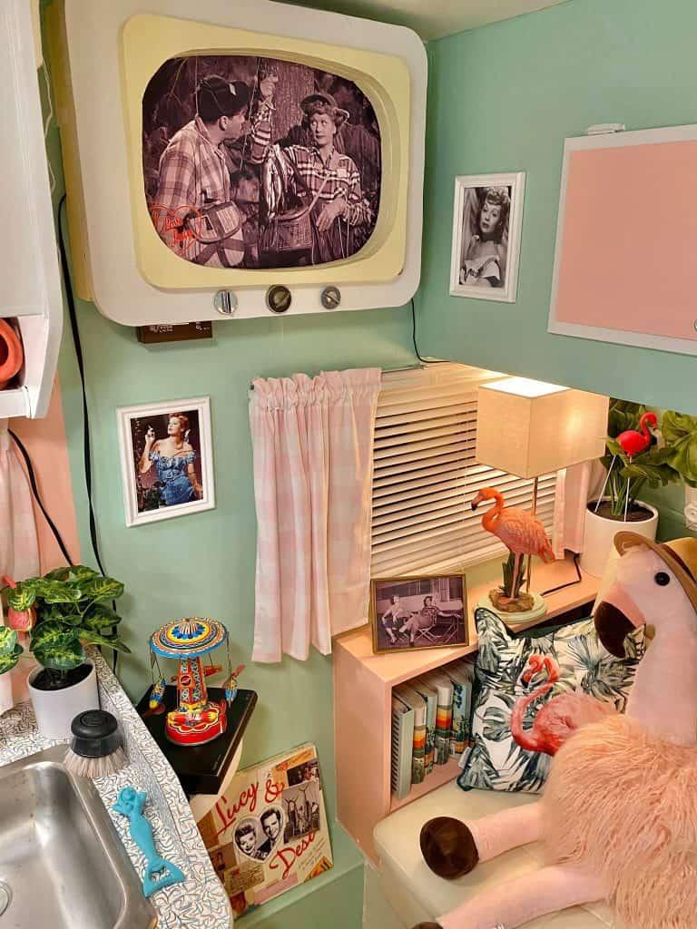 custom vintage mounted tv in camper