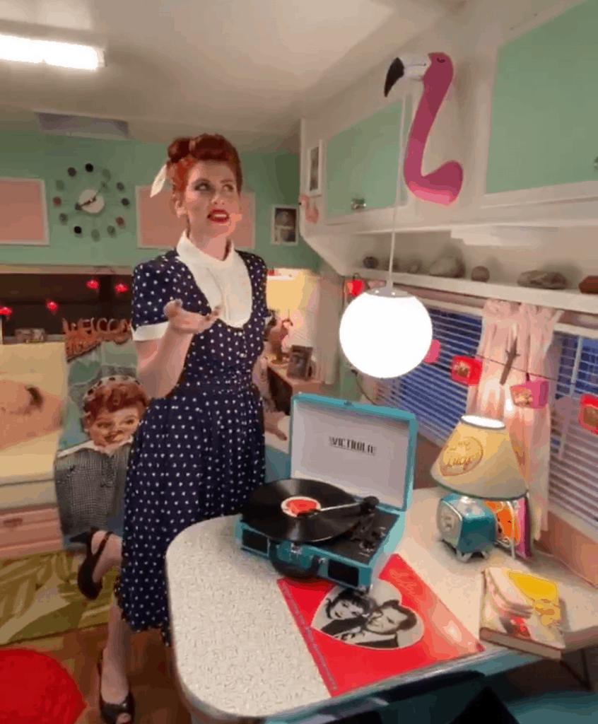 custom flamingo light for 50s vintage theme camper remodel