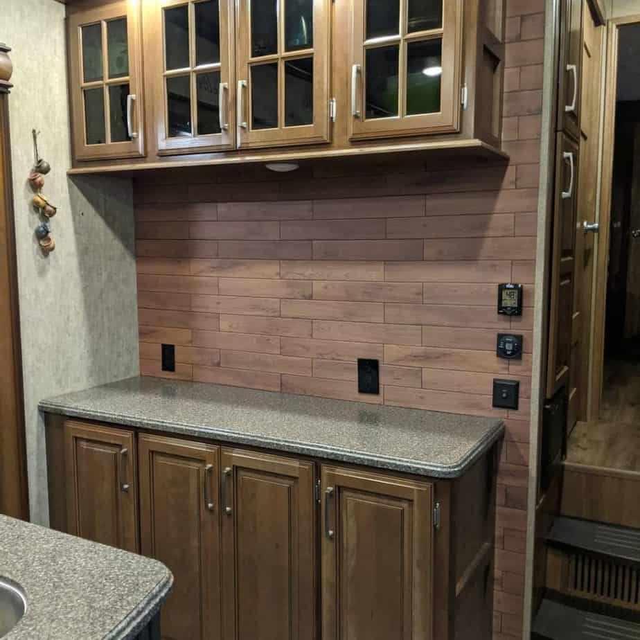 wood backsplash in rv kitchen