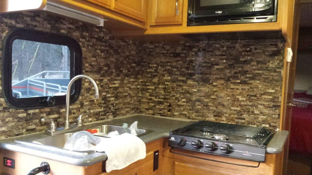 raised stone peel n stick for natural look in camper