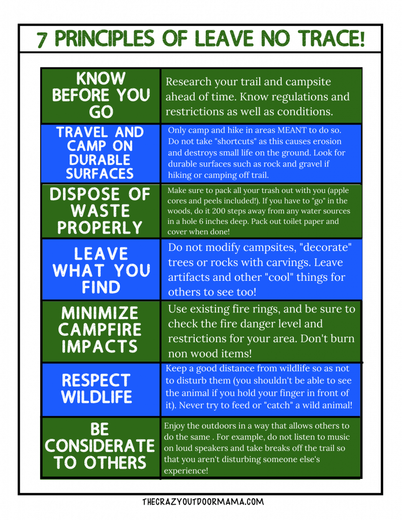 7 leave no trace principles printable for kids
