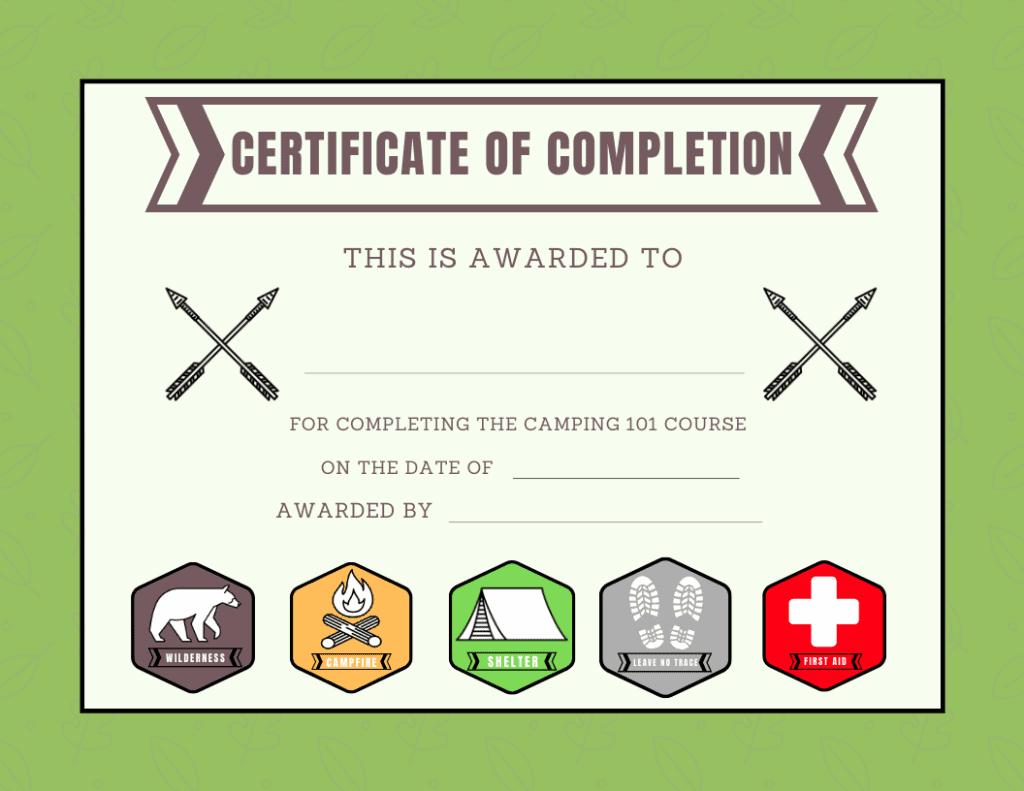summer camp certificate