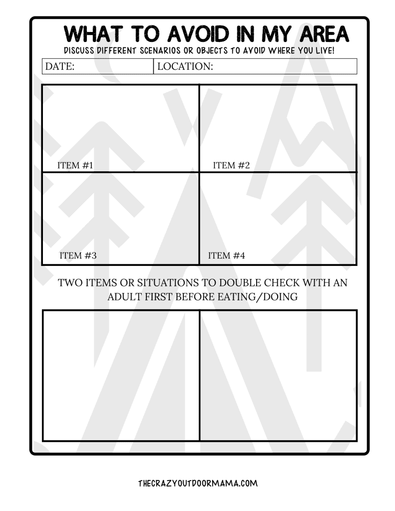 WORKSHEET TO TEACH KIDS WHAT FOOD AND SITUATINS TO AVOID OUTDOORS