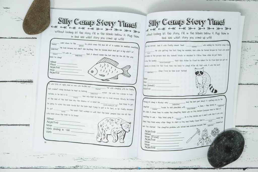 camping mad lib activity page in journal book