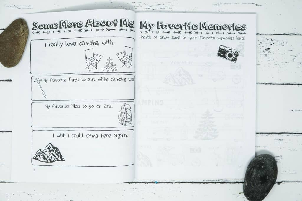 kids camping journal with photo spots