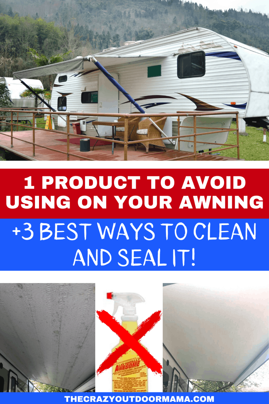5 Ways To Clean Your Rv Awning Diy Awning Cleaner The Crazy Outdoor Mama