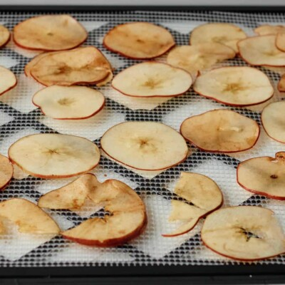 apples on dehydrator tray