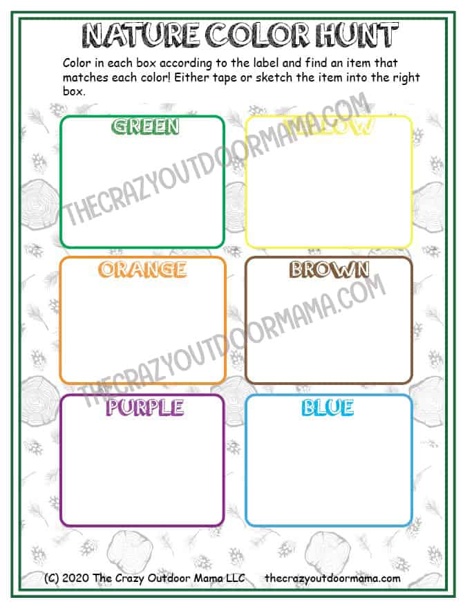 color outdoors printable