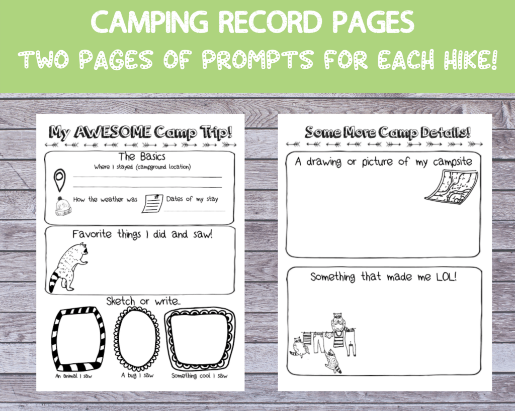camp log pages for kids