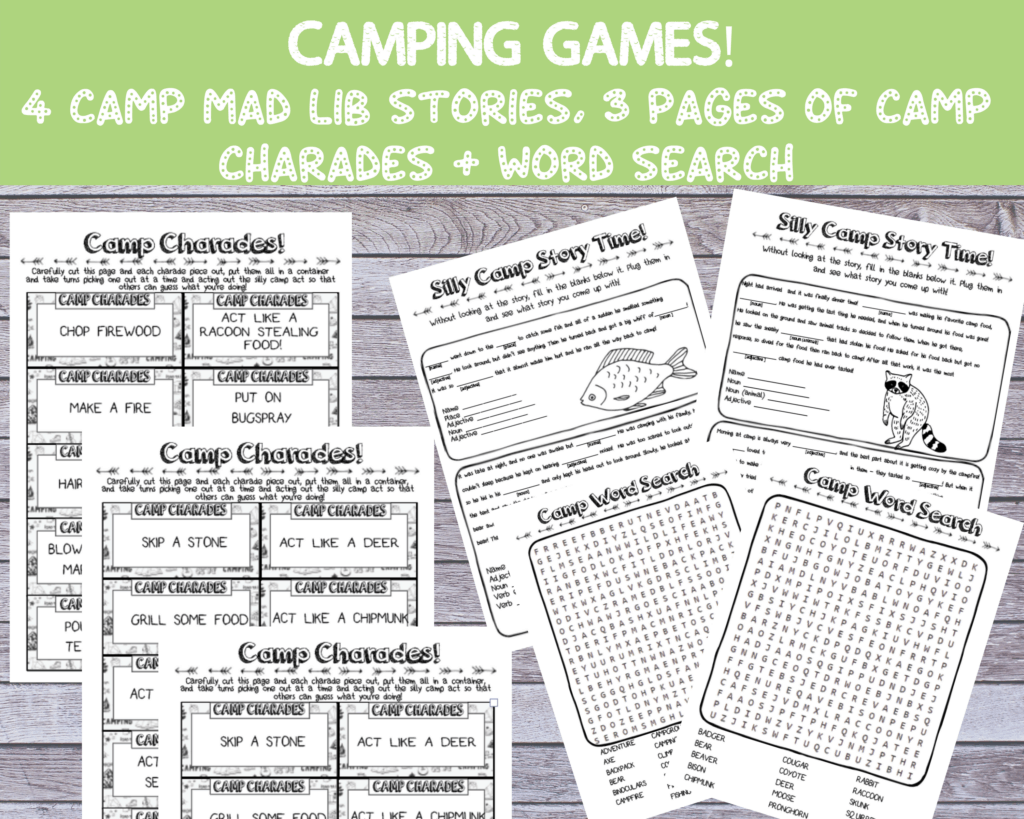 printable camping activities for kids charades word search mad libs with camp theme