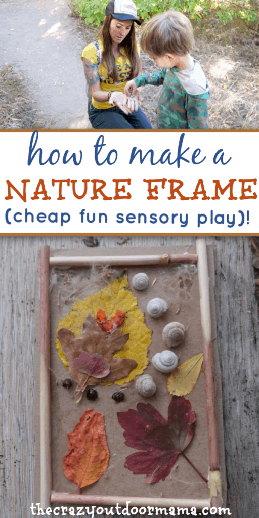 nature craft for kids with leaves, snail shells, berries, flowers