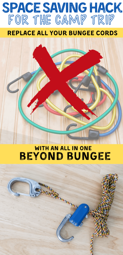 camp organization hack with beyond bungee to replace bungee cords