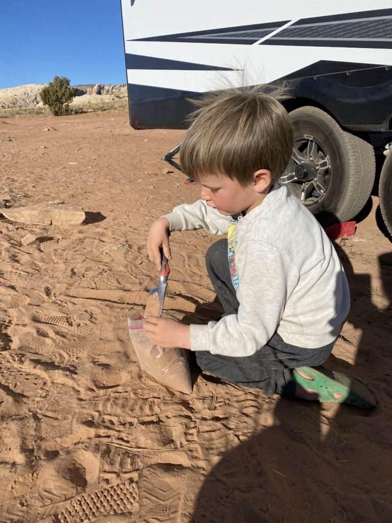 boy working on desert craft