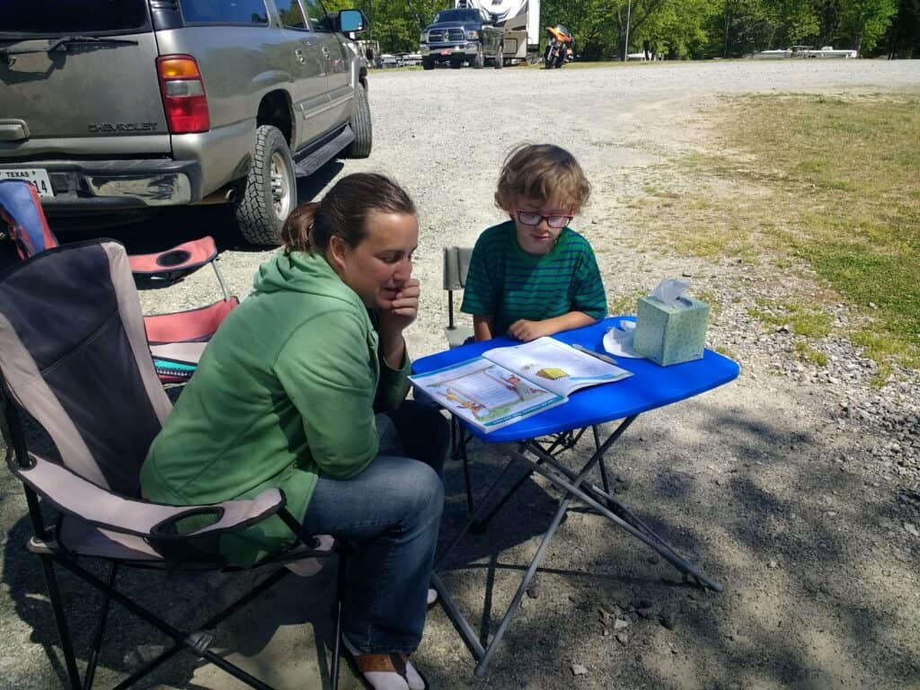 how kids learn enough through roadschooling, same as working at desk in school or campground at camp