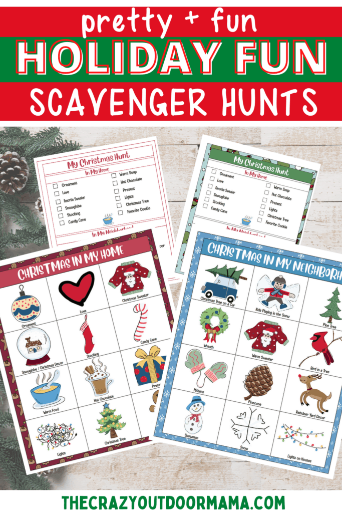 printable christmas scavenger hunt for kids indoors and outdoors in neighborhood