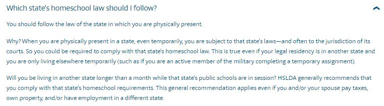 which states homeschool law should you follow
