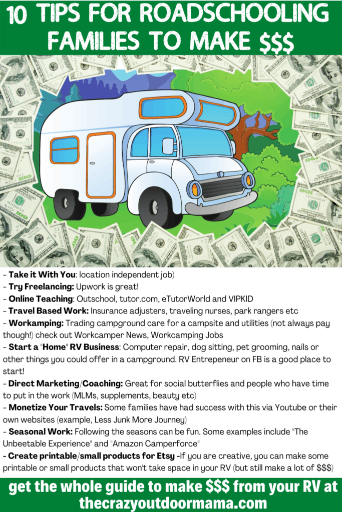 how to make money while roadschooling in camper