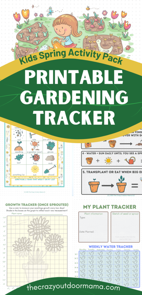 PRINTABLE GARDENING JOURNAL for kids with growth tracker, water tracker and garden themed scavenger hunt