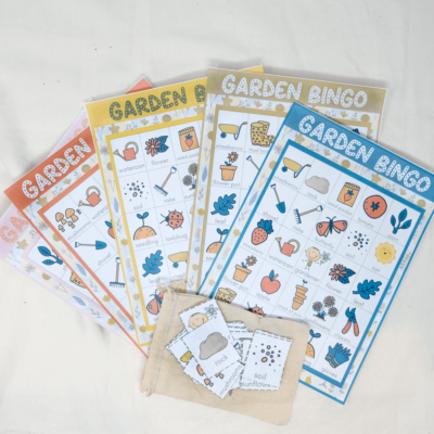 garden bingo printable pdfs for kids with calling cards