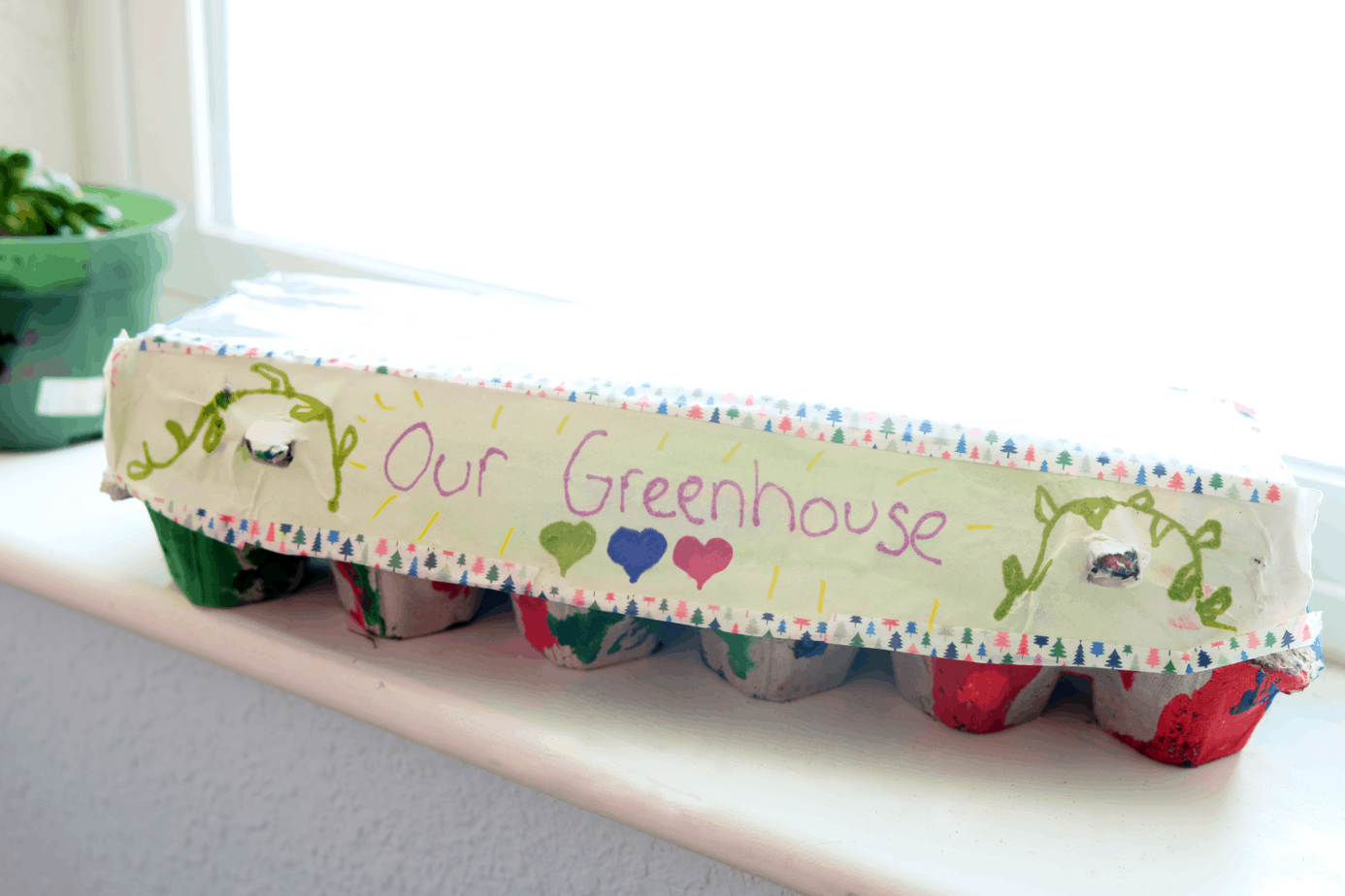 kids recyclable upcylce greenhouse project with printables