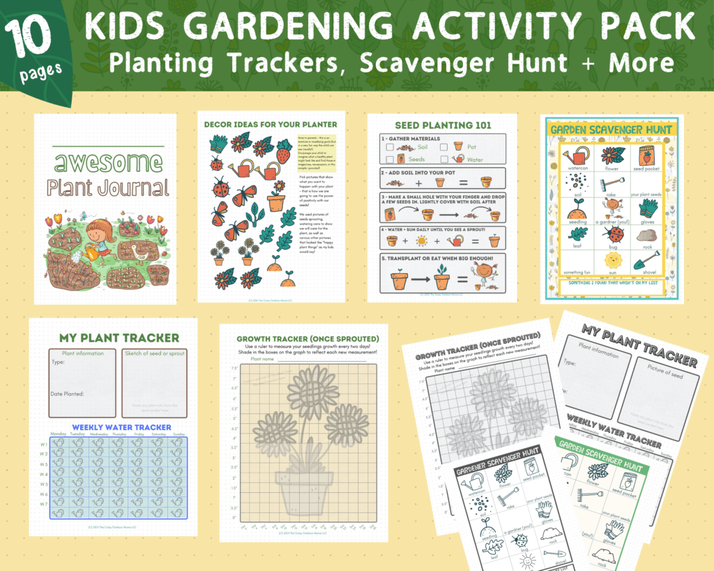 kids printable gardening and planting journal color and black and white