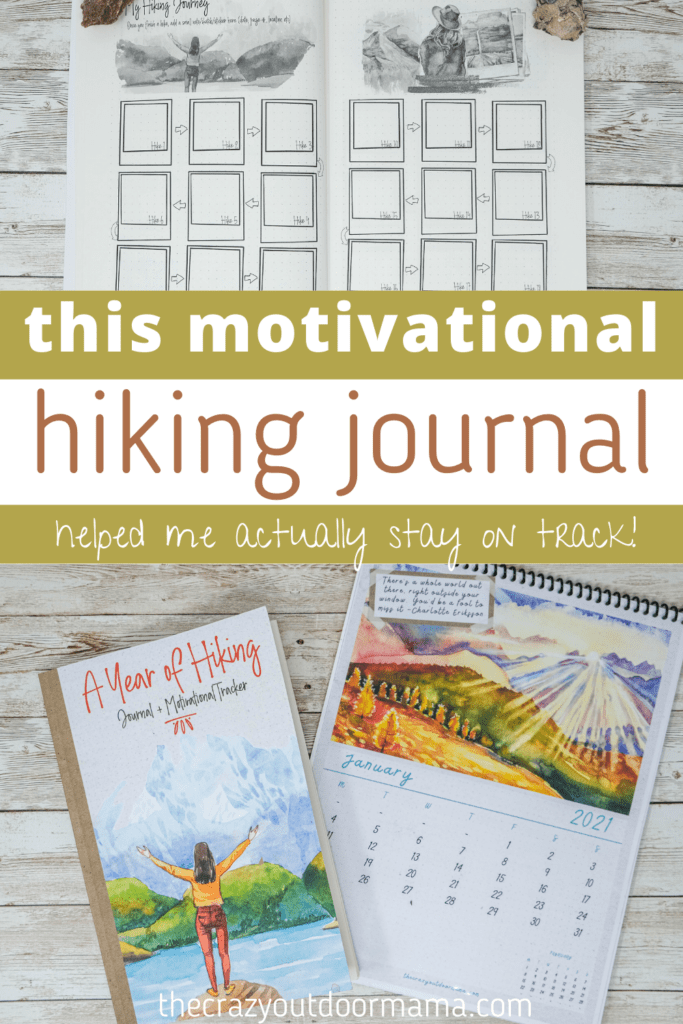 fun cheap hiking log for women with prompts and tracking + bonus calendar
