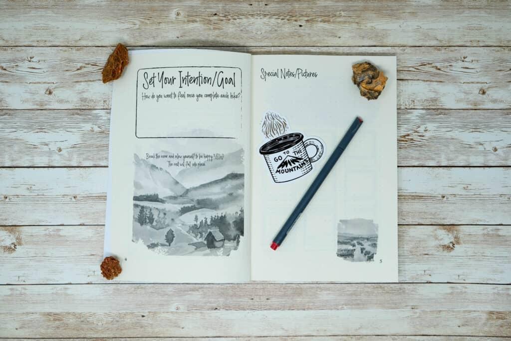 bullet journal feminine motivating hiking outdoor journal