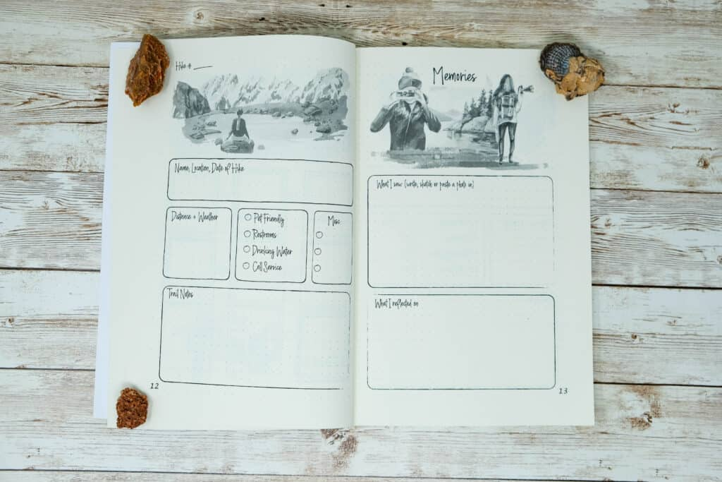 beautiful womens hiking journal with prompts and hiking log