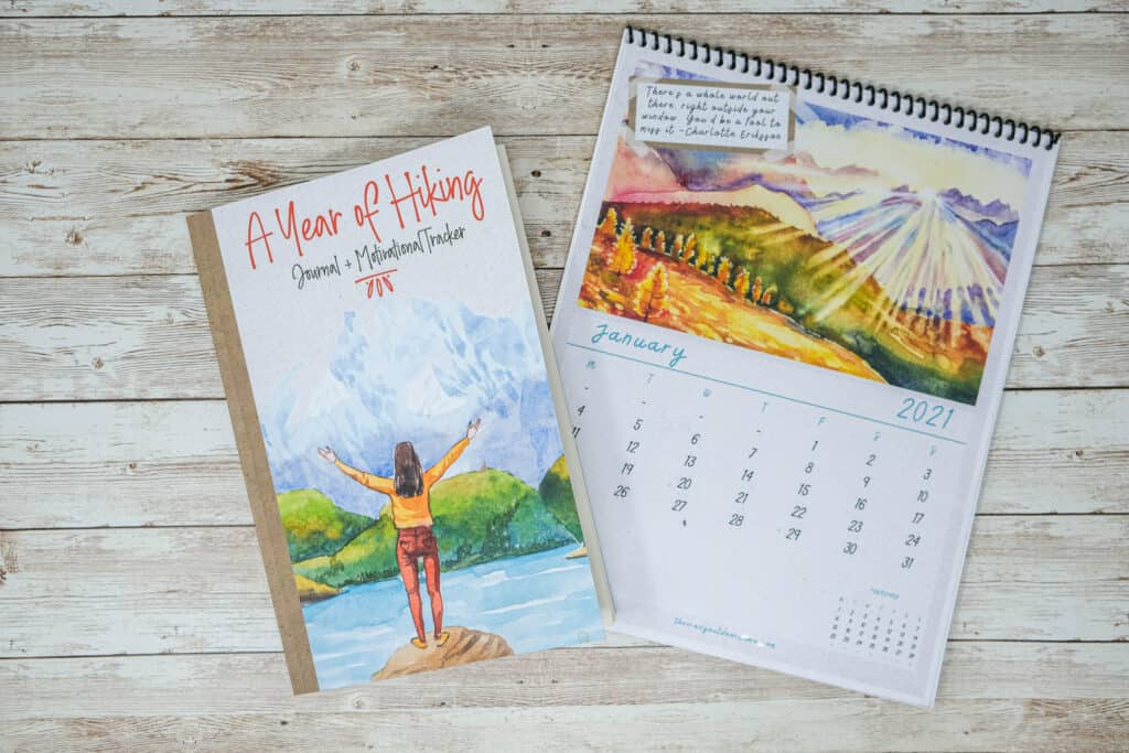 pretty womens hiking journal + matching nature themed calendar gift for hiking lover