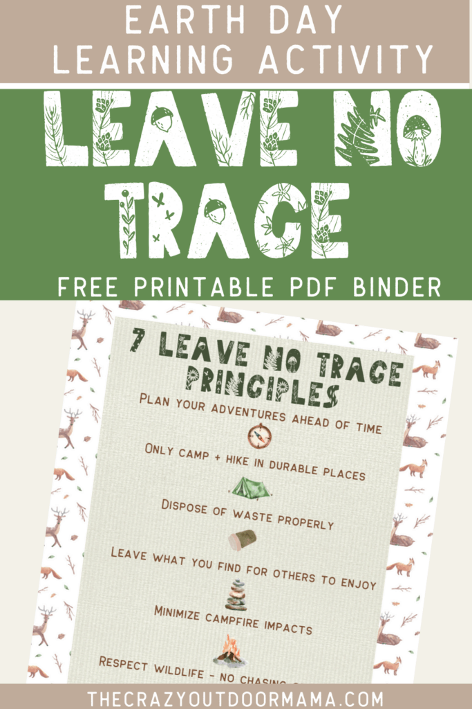 leave no trace educationalfree printable for backpacking hiking camping with kids