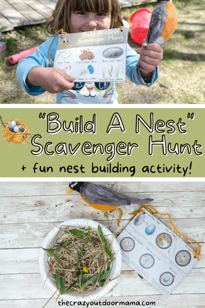 spring outdoor activity for kids nest scavenger hunt and nest building activity