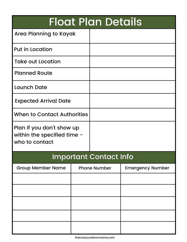 free float plan printable for kayak camping