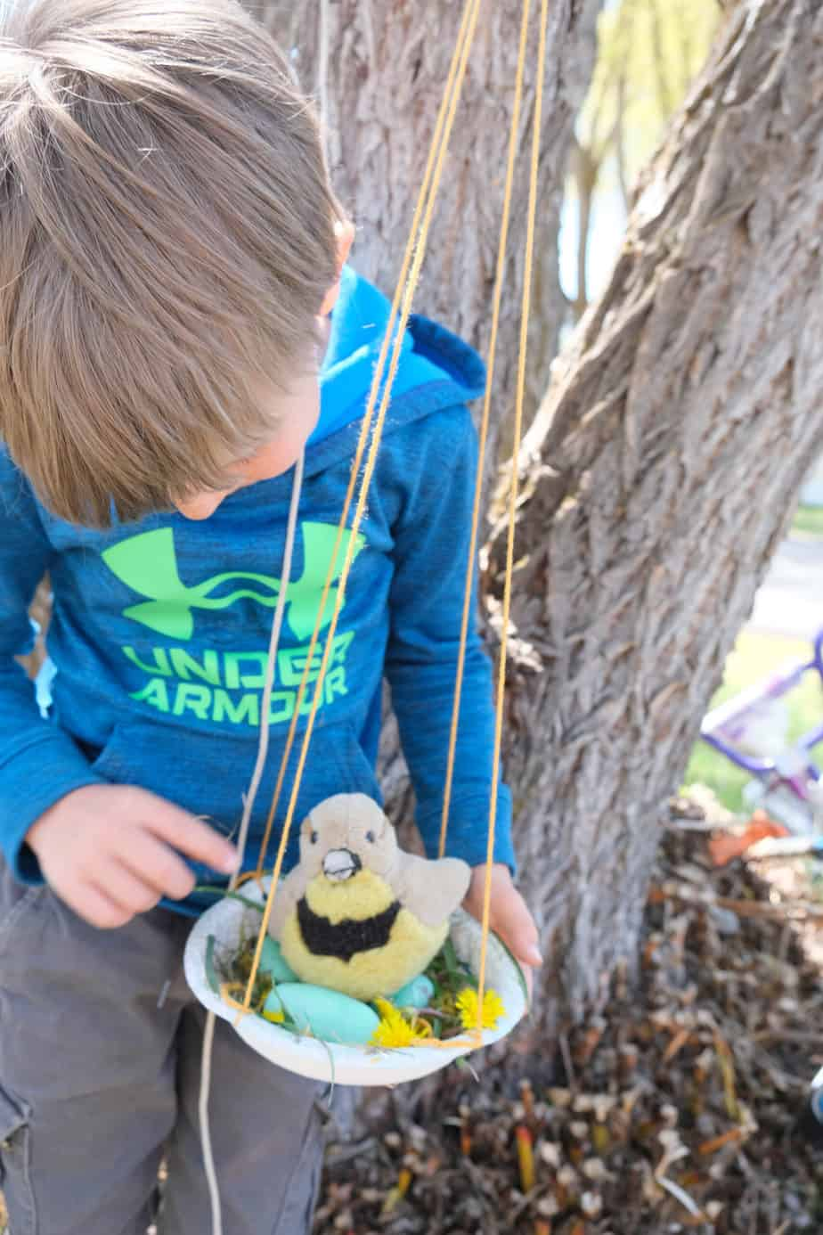 cute hanging bird nest craft for kids