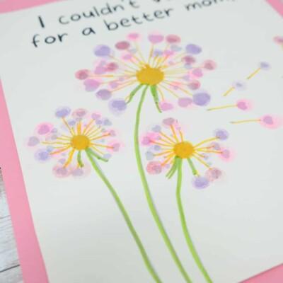 fingerprint flower template for mom or grandma
