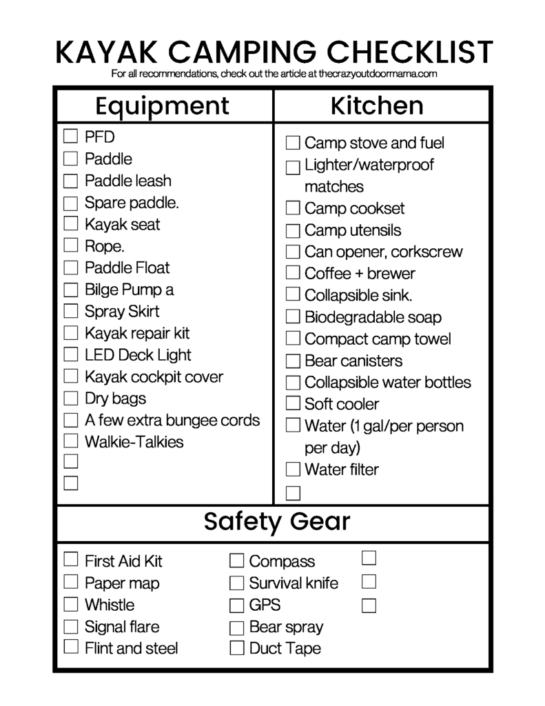 printable checklist with things needed to go on kayak camp trip