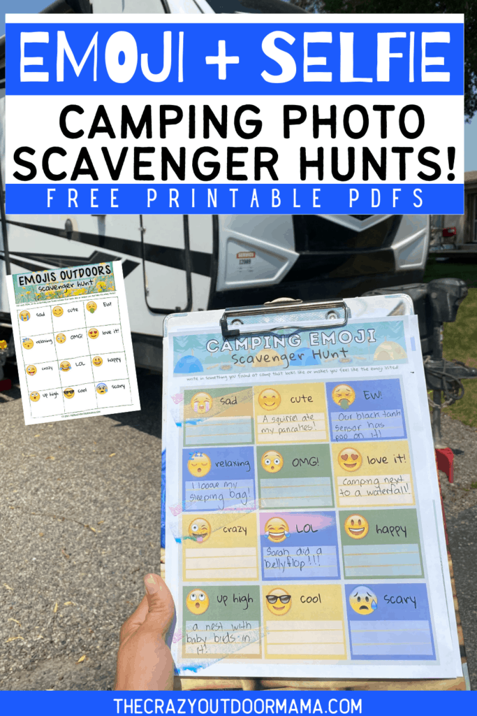 emoji and selfie fun camping photo scavenger hunt for teens or summer camp