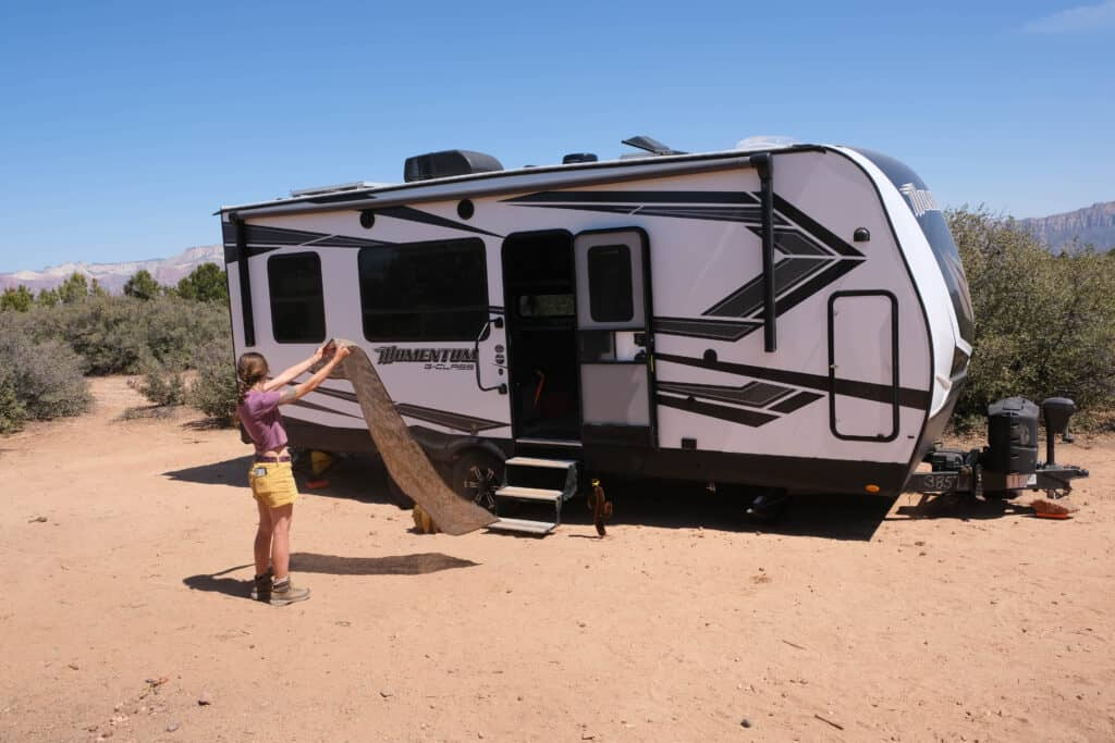 easy to clean reduces amount of dirt tracked into camper