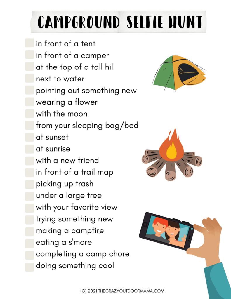 free printable campground selfie hunt