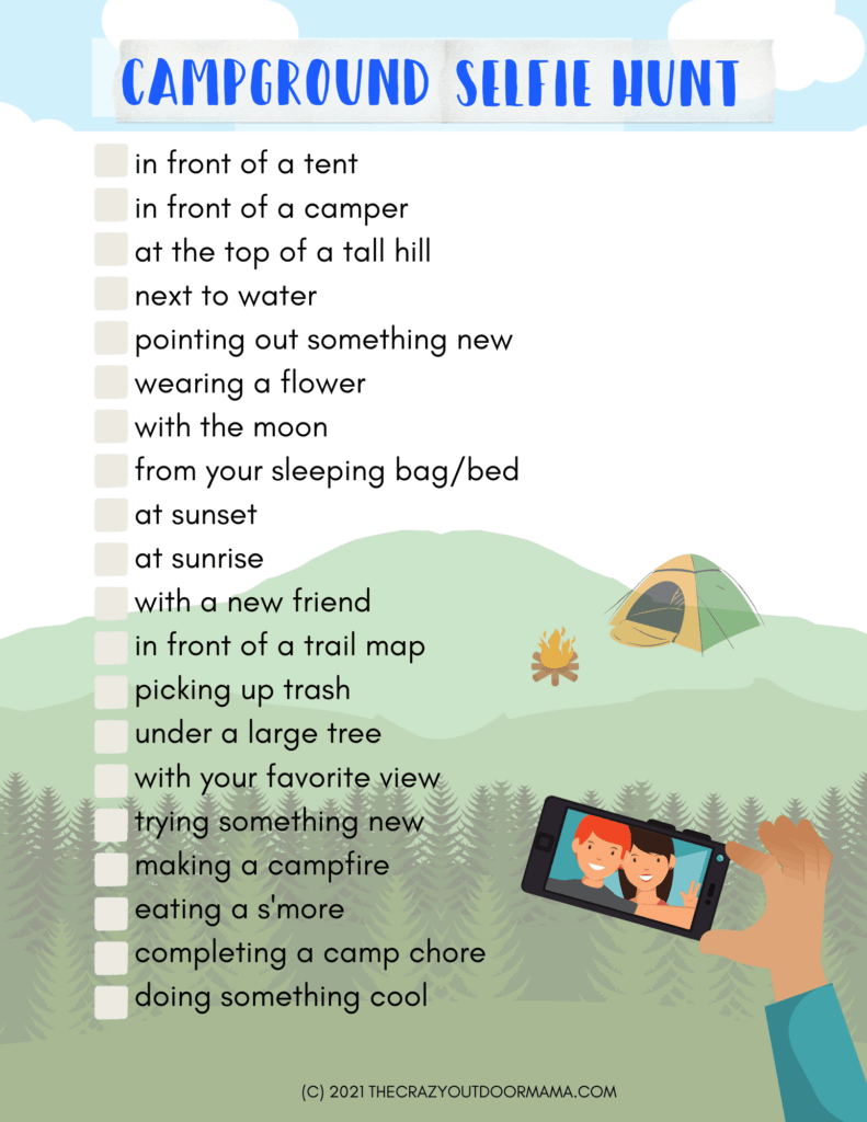 printable camping selfie hunt for teens camping activity