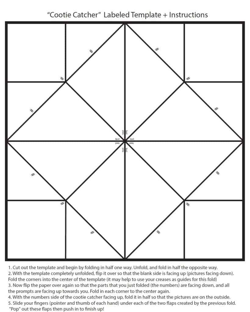 free blank cootie catcher template and instructions on how to fold and make your own