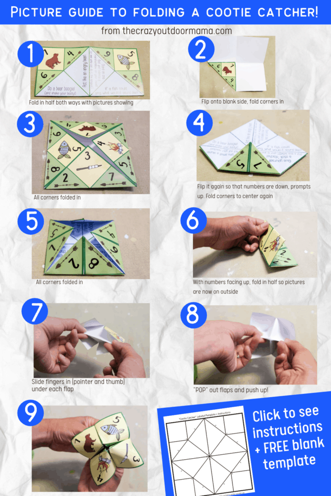 """folding instrutions for diy fortune teller from blank 8 1/2"""" by 11"""" paper"""