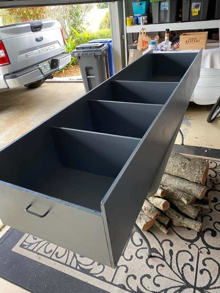 how to make easy storage bin for outdoor compartment in camper