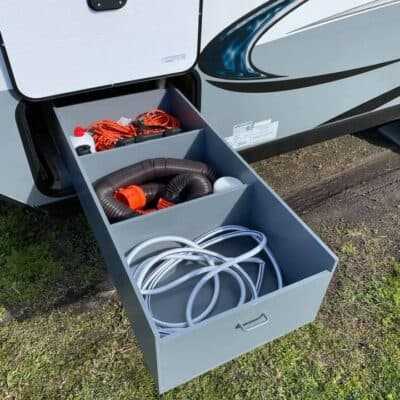 organizing the outdoor bin in your camper